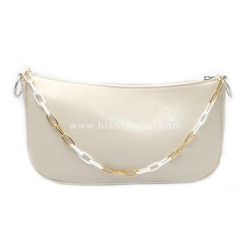 Stainless Steel&Zirconia Ceramic Gold White Chain