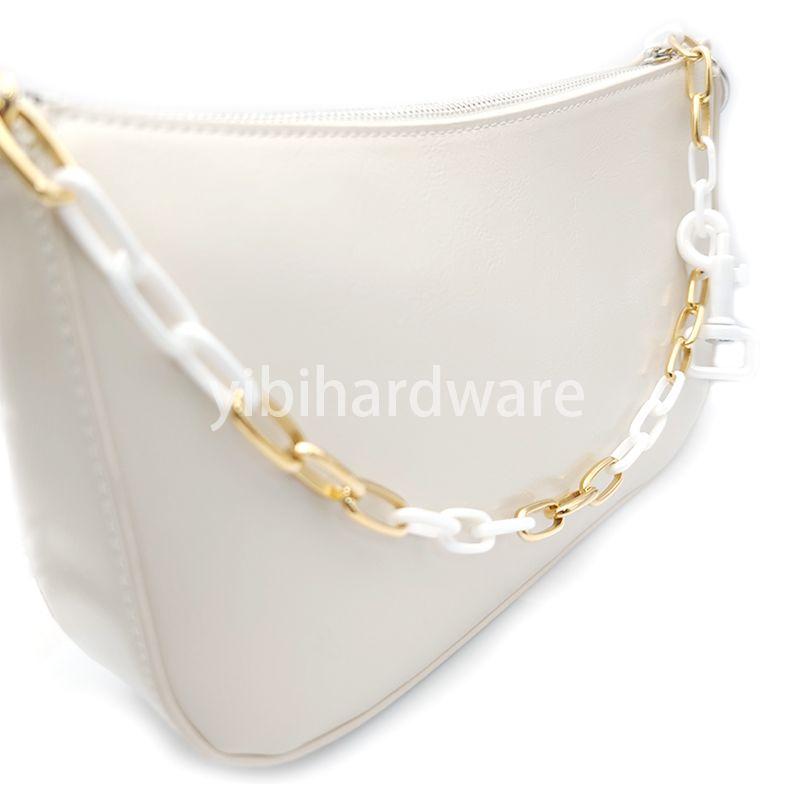 zirconia ceramic white & gold chain