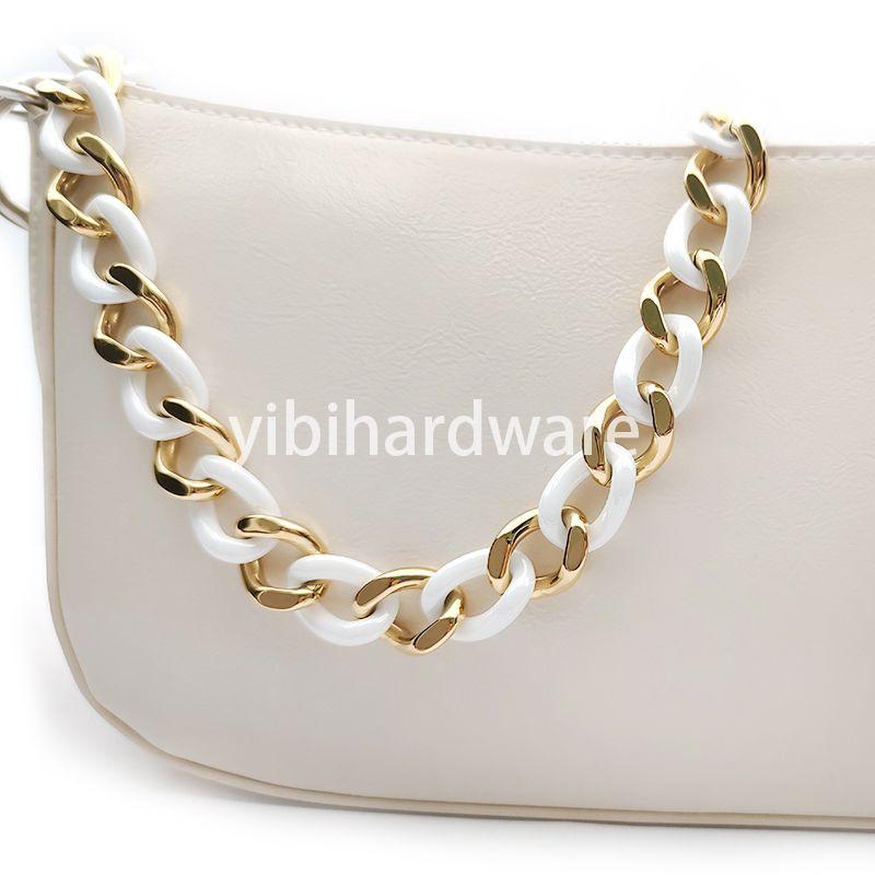 Zirconia Ceramic&Stainless Steel Gold White Chain
